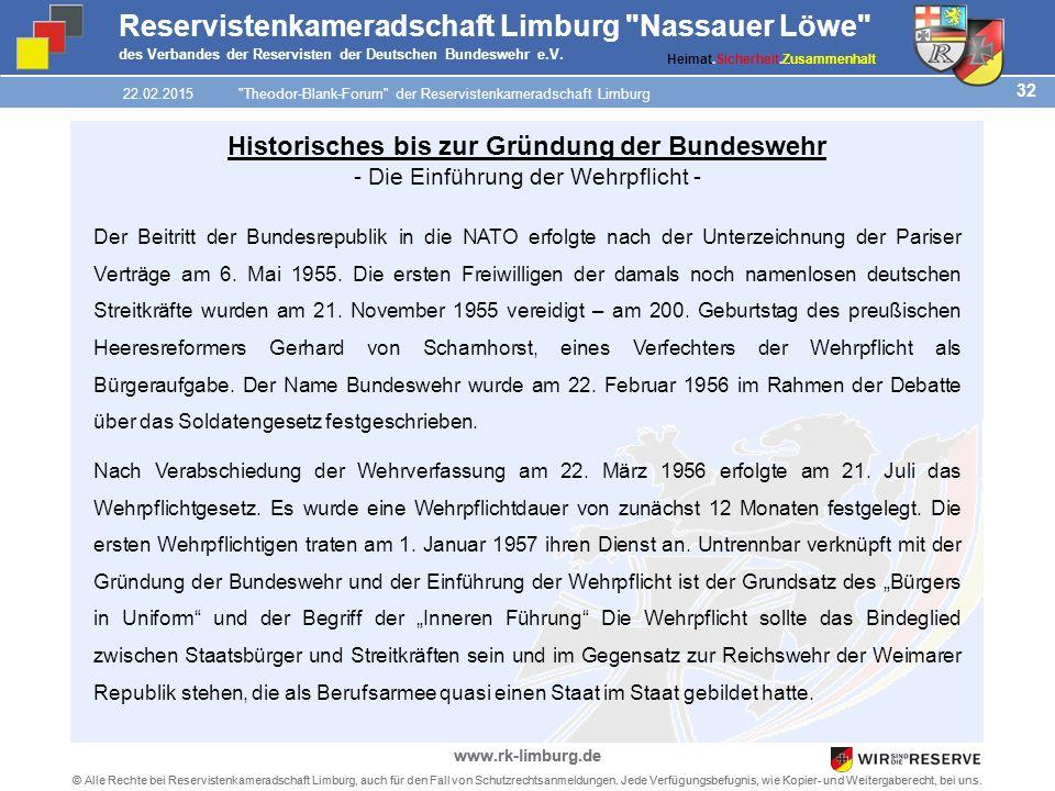 32 © Alle Rechte bei Reservistenkameradschaft Limburg, auch für den Fall von Schutzrechtsanmeldungen.