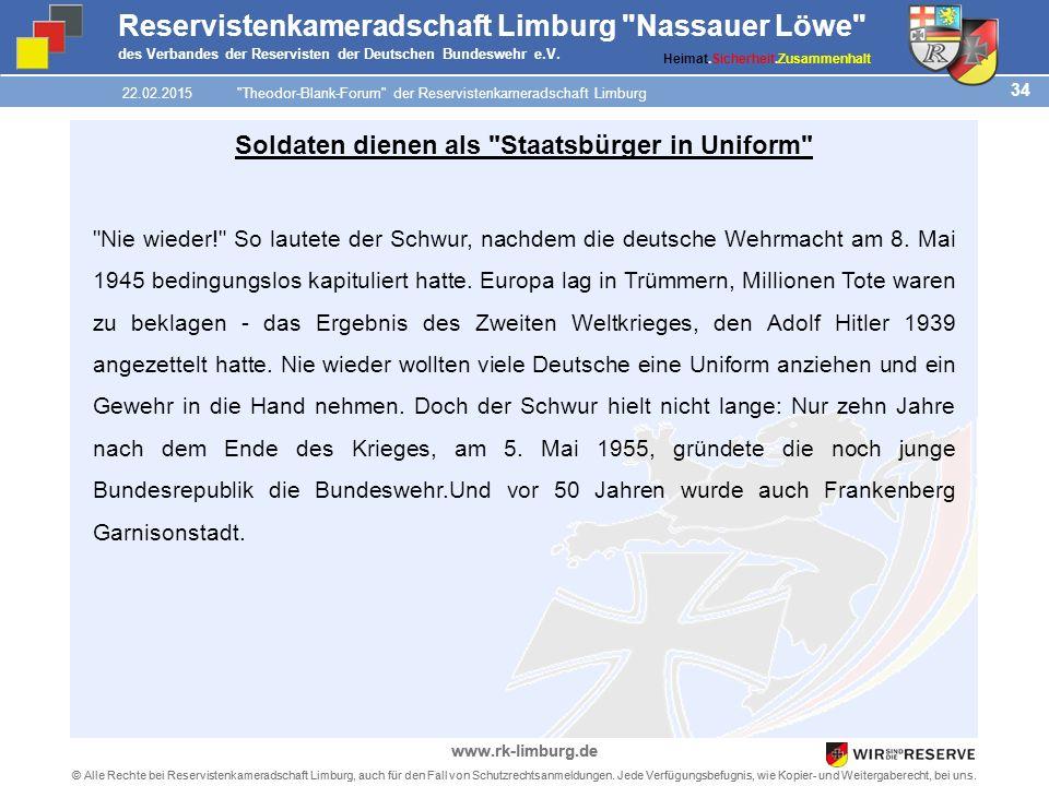 34 © Alle Rechte bei Reservistenkameradschaft Limburg, auch für den Fall von Schutzrechtsanmeldungen.