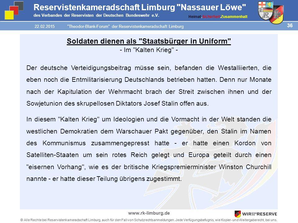 36 © Alle Rechte bei Reservistenkameradschaft Limburg, auch für den Fall von Schutzrechtsanmeldungen.