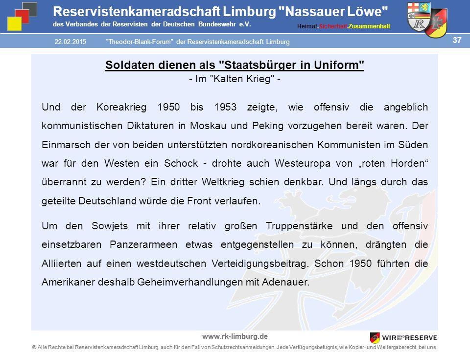 37 © Alle Rechte bei Reservistenkameradschaft Limburg, auch für den Fall von Schutzrechtsanmeldungen.
