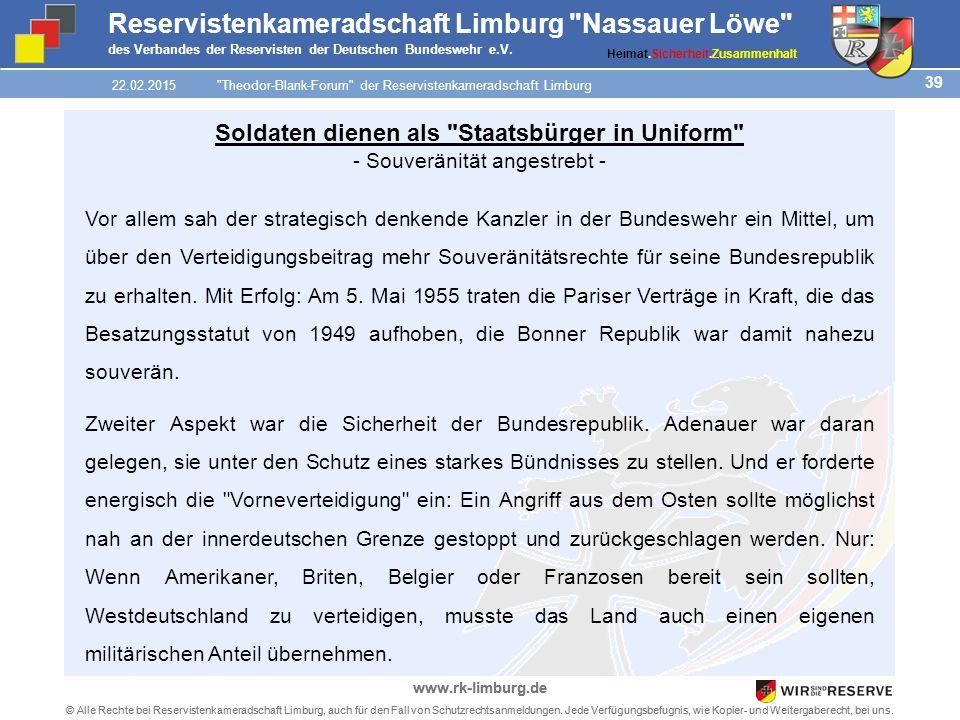 39 © Alle Rechte bei Reservistenkameradschaft Limburg, auch für den Fall von Schutzrechtsanmeldungen.