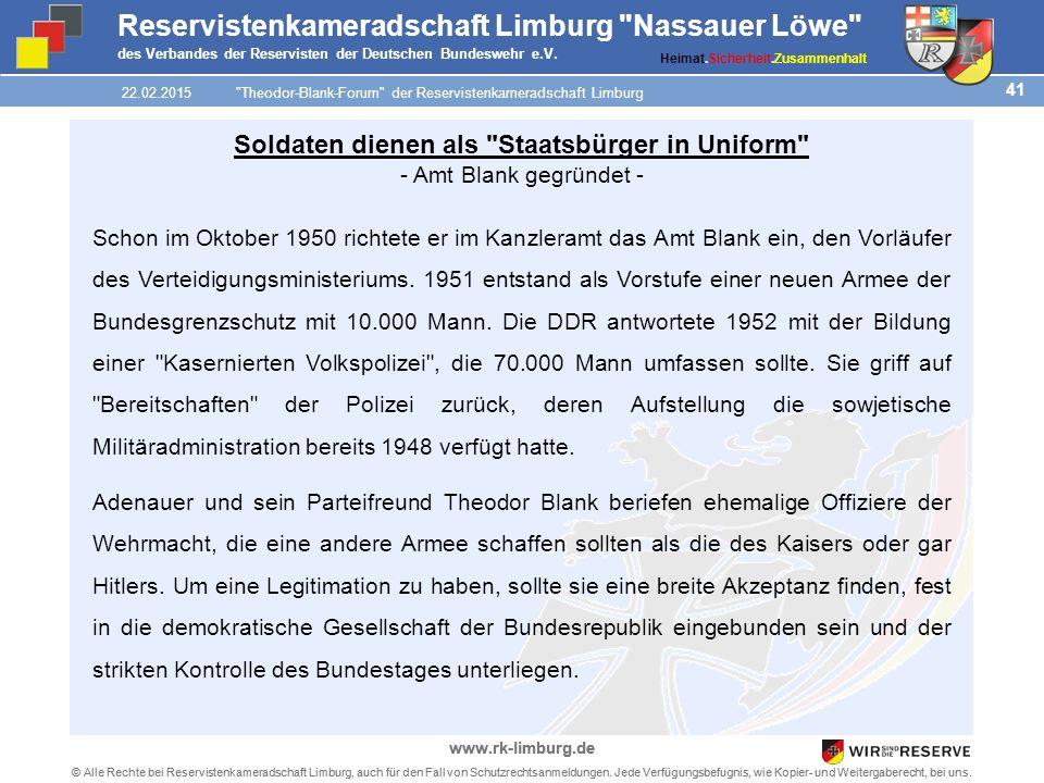 41 © Alle Rechte bei Reservistenkameradschaft Limburg, auch für den Fall von Schutzrechtsanmeldungen.