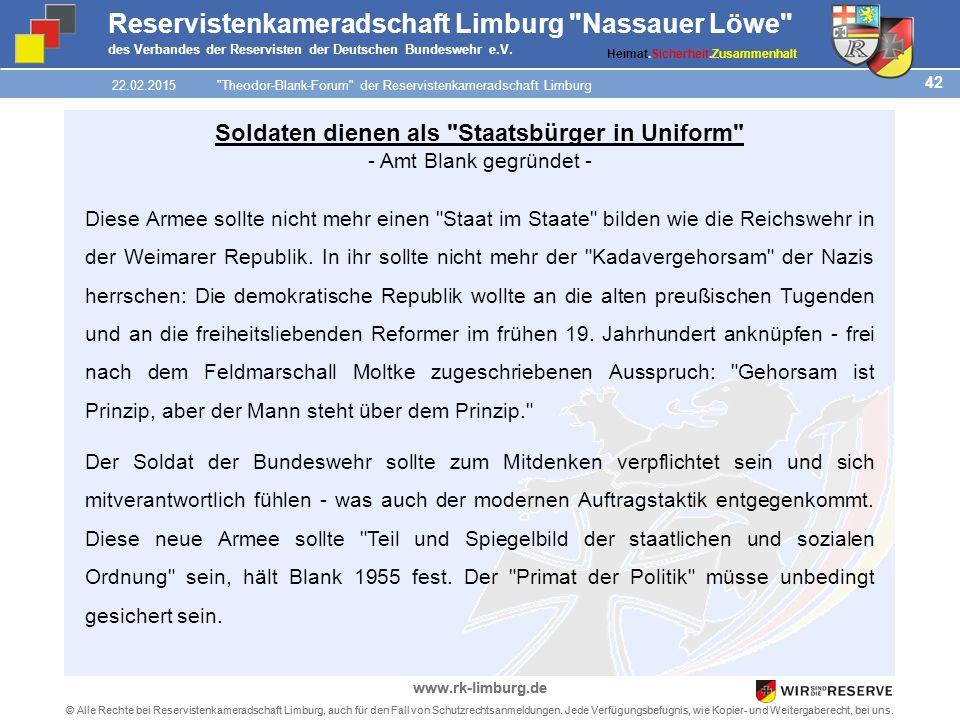 42 © Alle Rechte bei Reservistenkameradschaft Limburg, auch für den Fall von Schutzrechtsanmeldungen.