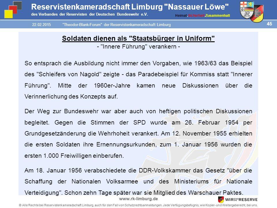45 © Alle Rechte bei Reservistenkameradschaft Limburg, auch für den Fall von Schutzrechtsanmeldungen.