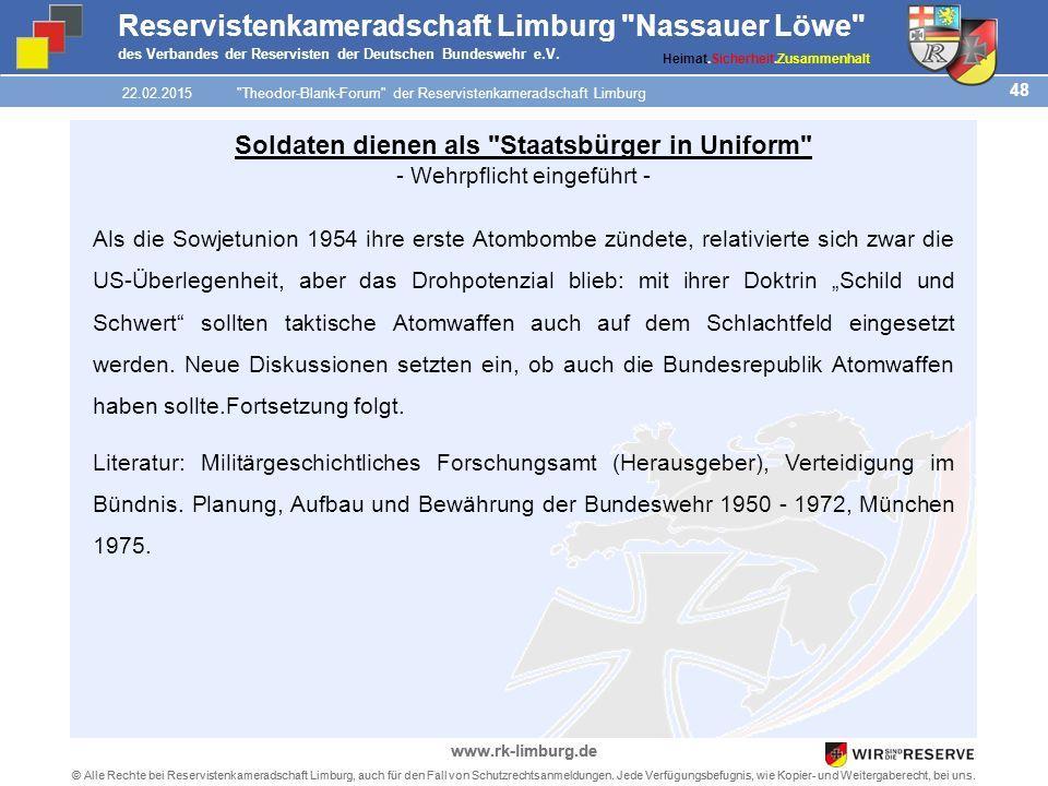 48 © Alle Rechte bei Reservistenkameradschaft Limburg, auch für den Fall von Schutzrechtsanmeldungen.