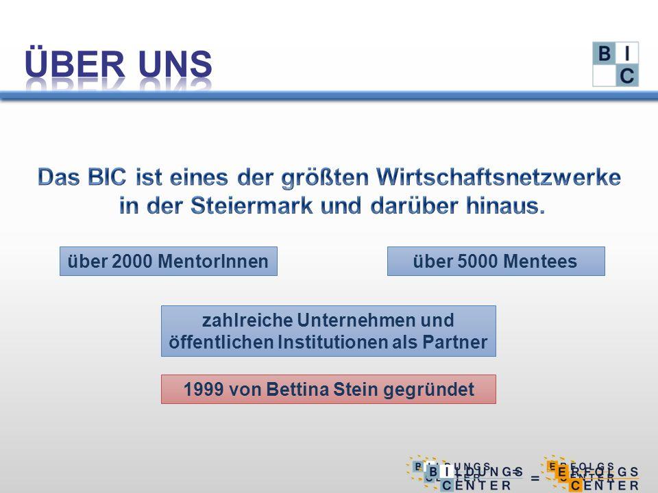 über 2000 MentorInnen zahlreiche Unternehmen und öffentlichen Institutionen als Partner über 5000 Mentees 1999 von Bettina Stein gegründet
