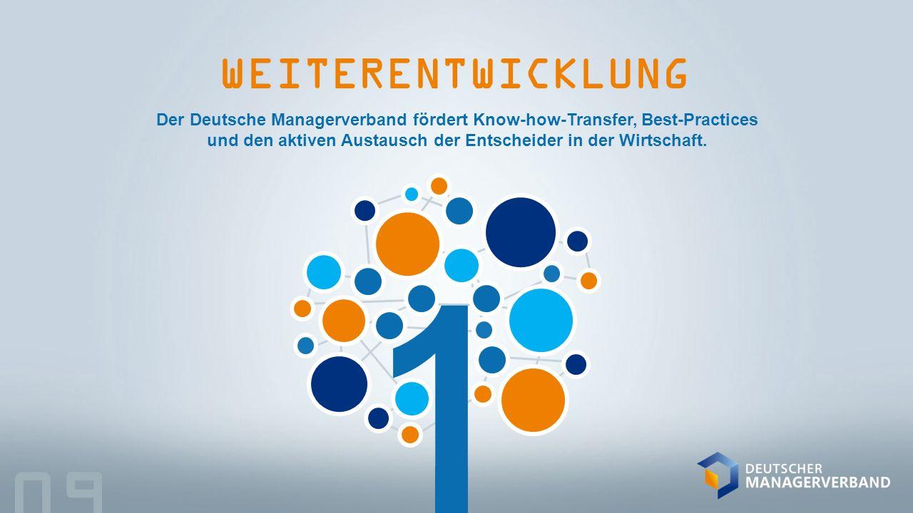 1 WEITERENTWICKLUNG 09 Der Deutsche Managerverband fördert Know-how-Transfer, Best-Practices und den aktiven Austausch der Entscheider in der Wirtschaft.