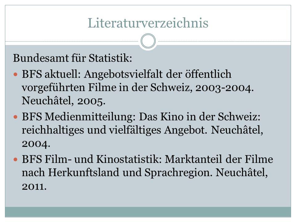 Literaturverzeichnis Bundesamt für Statistik: BFS aktuell: Angebotsvielfalt der öffentlich vorgeführten Filme in der Schweiz, 2003-2004.