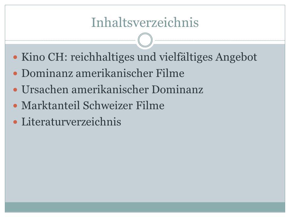 Inhaltsverzeichnis Kino CH: reichhaltiges und vielfältiges Angebot Dominanz amerikanischer Filme Ursachen amerikanischer Dominanz Marktanteil Schweizer Filme Literaturverzeichnis