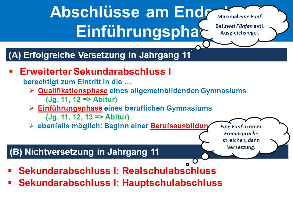  Erweiterter Sekundarabschluss I berechtigt zum Eintritt in die …  Qualifikationsphase eines allgemeinbildenden Gymnasiums (Jg. 11, 12 => Abitur) 