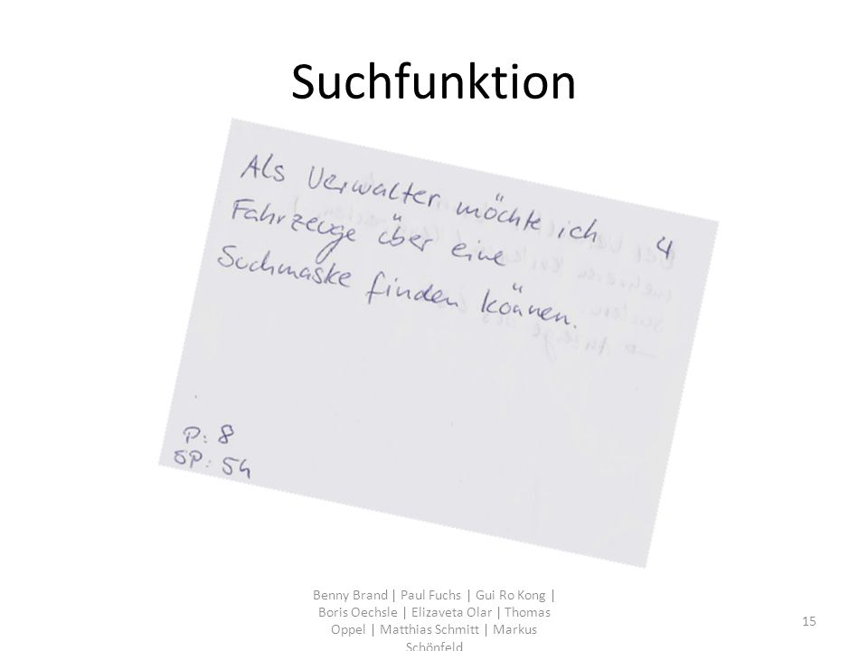 Suchfunktion Benny Brand | Paul Fuchs | Gui Ro Kong | Boris Oechsle | Elizaveta Olar | Thomas Oppel | Matthias Schmitt | Markus Schönfeld 15