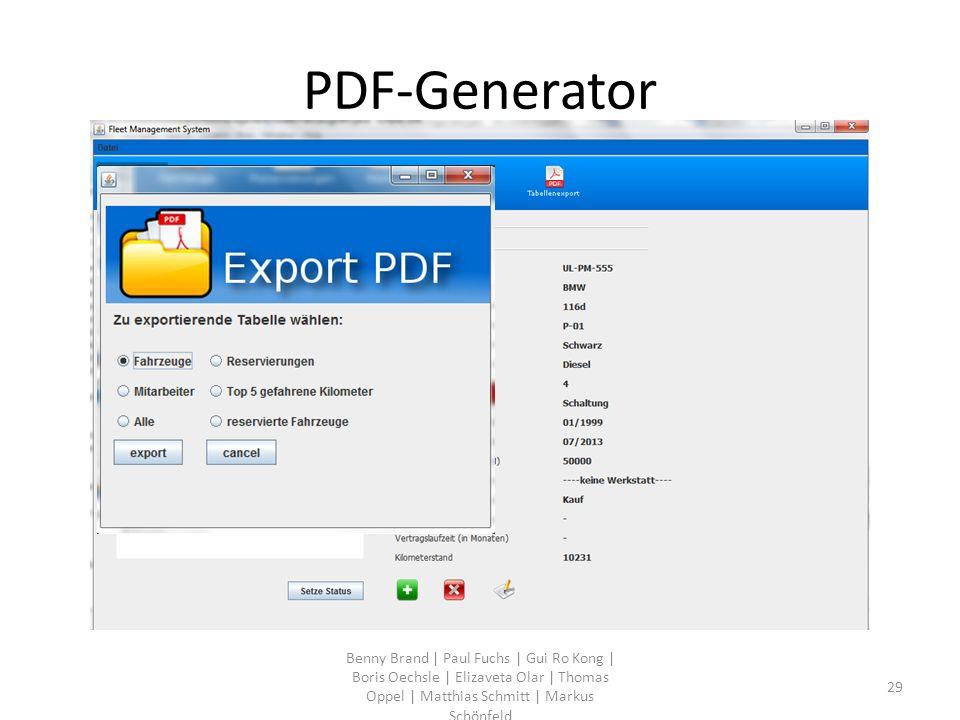 PDF-Generator Benny Brand | Paul Fuchs | Gui Ro Kong | Boris Oechsle | Elizaveta Olar | Thomas Oppel | Matthias Schmitt | Markus Schönfeld 29