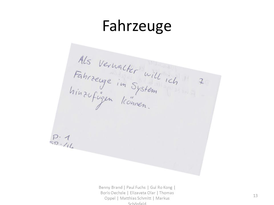 Fahrzeuge Benny Brand | Paul Fuchs | Gui Ro Kong | Boris Oechsle | Elizaveta Olar | Thomas Oppel | Matthias Schmitt | Markus Schönfeld 13