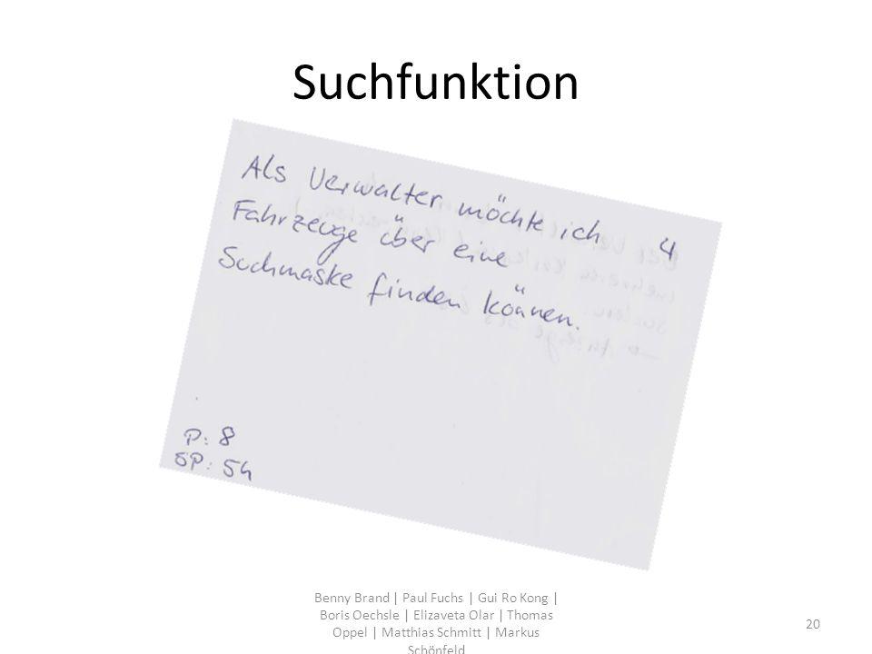 Suchfunktion Benny Brand | Paul Fuchs | Gui Ro Kong | Boris Oechsle | Elizaveta Olar | Thomas Oppel | Matthias Schmitt | Markus Schönfeld 20
