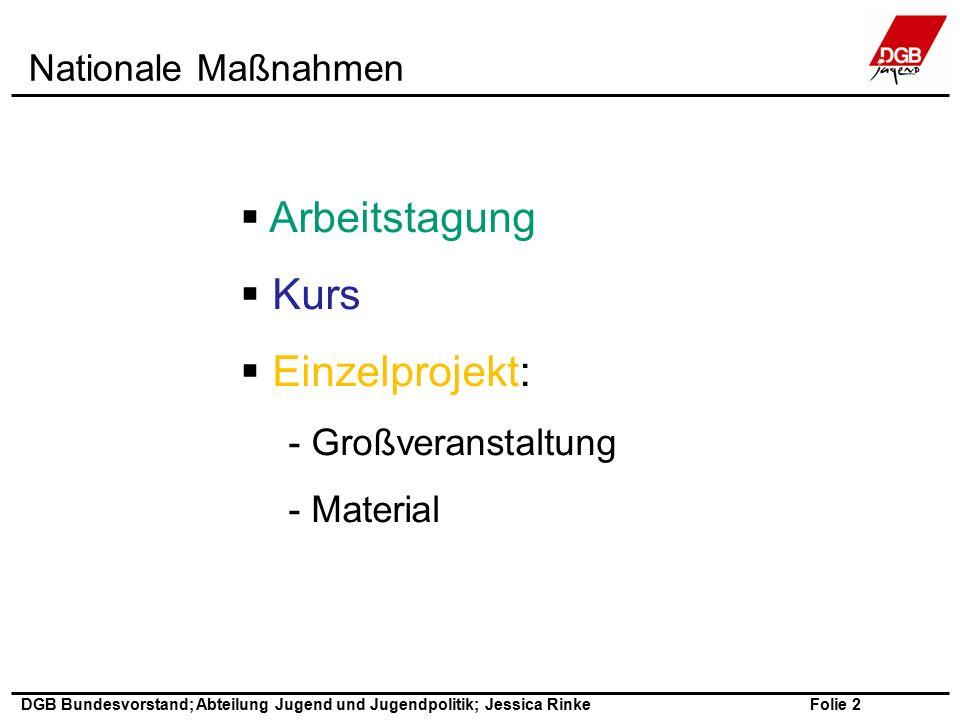 Folie 2 DGB Bundesvorstand; Abteilung Jugend und Jugendpolitik; Jessica Rinke  Arbeitstagung  Kurs  Einzelprojekt: - Großveranstaltung - Material Nationale Maßnahmen