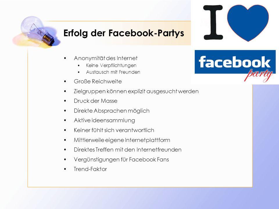 Erfolg der Facebook-Partys Anonymität des Internet Keine Verpflichtungen Austausch mit Freunden Große Reichweite Zielgruppen können explizit ausgesuch