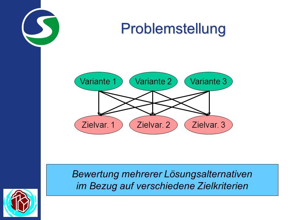 Folie 7 Problemstellung Bewertung mehrerer Lösungsalternativen im Bezug auf verschiedene Zielkriterien Variante 1Variante 2Variante 3 Zielvar.