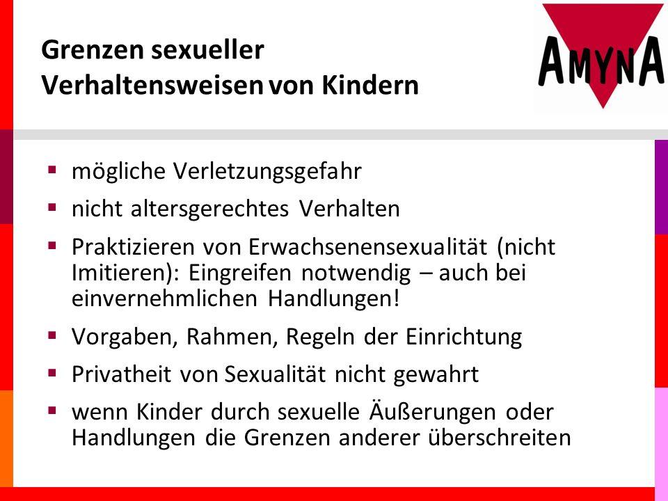 Grenzen sexueller Verhaltensweisen von Kindern  mögliche Verletzungsgefahr  nicht altersgerechtes Verhalten  Praktizieren von Erwachsenensexualität (nicht Imitieren): Eingreifen notwendig – auch bei einvernehmlichen Handlungen.