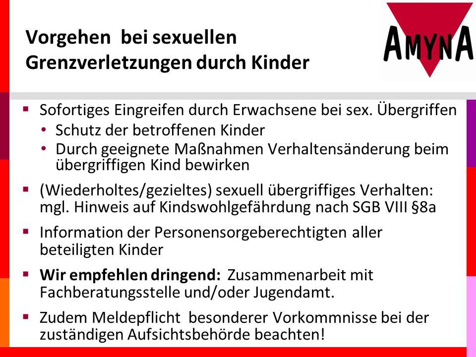 Vorgehen bei sexuellen Grenzverletzungen durch Kinder  Sofortiges Eingreifen durch Erwachsene bei sex.