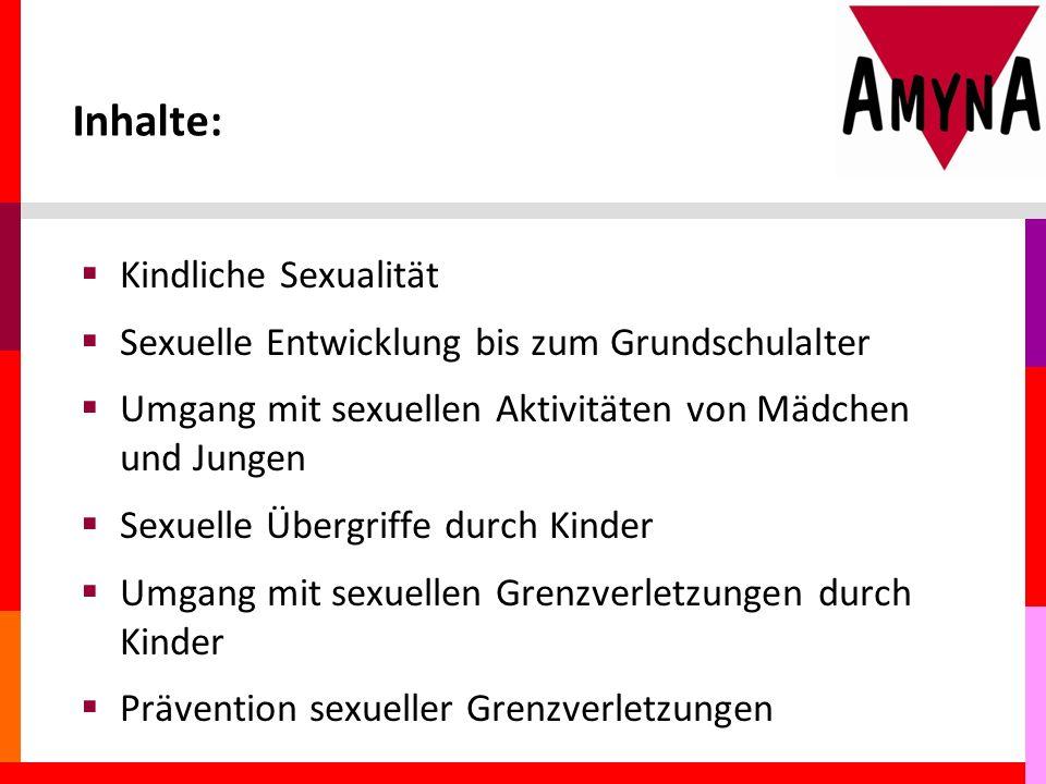 Inhalte:  Kindliche Sexualität  Sexuelle Entwicklung bis zum Grundschulalter  Umgang mit sexuellen Aktivitäten von Mädchen und Jungen  Sexuelle Übergriffe durch Kinder  Umgang mit sexuellen Grenzverletzungen durch Kinder  Prävention sexueller Grenzverletzungen