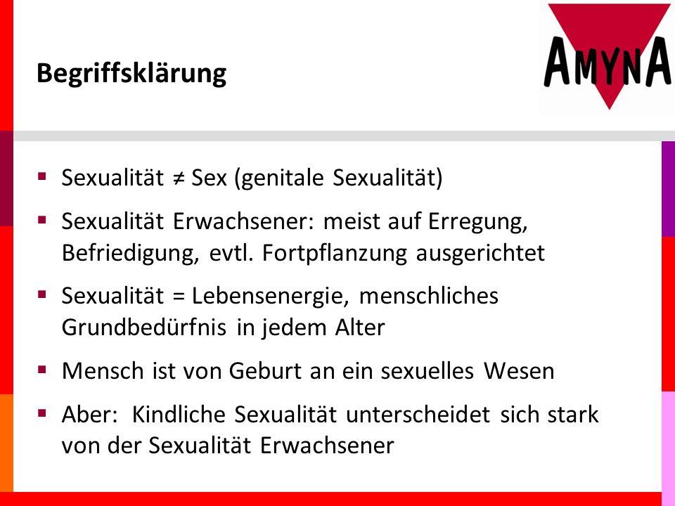 Begriffsklärung  Sexualität ≠ Sex (genitale Sexualität)  Sexualität Erwachsener: meist auf Erregung, Befriedigung, evtl.