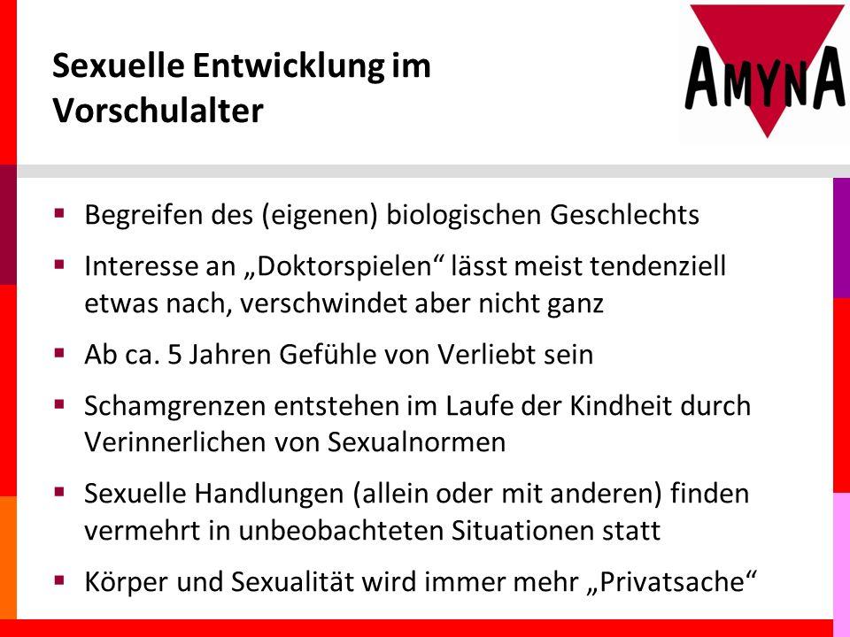 """Sexuelle Entwicklung im Vorschulalter  Begreifen des (eigenen) biologischen Geschlechts  Interesse an """"Doktorspielen lässt meist tendenziell etwas nach, verschwindet aber nicht ganz  Ab ca."""
