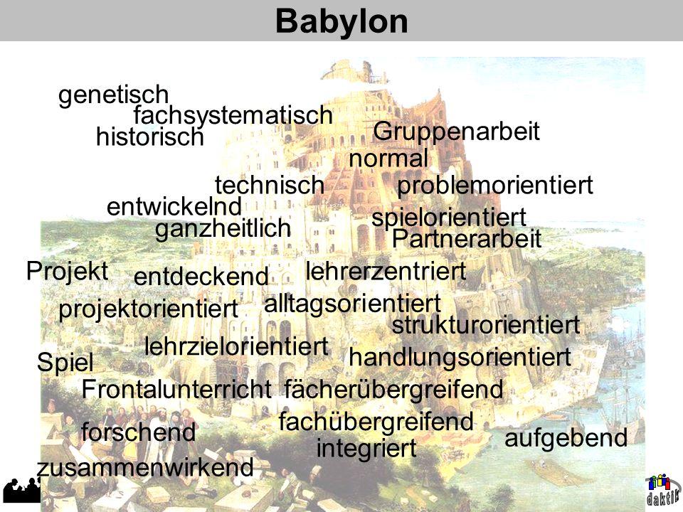 AD W. Wagner, Didaktik der Chemie, Universität Bayreuth Babylon genetisch problemorientiert entdeckend forschend entwickelnd fachsystematisch historis