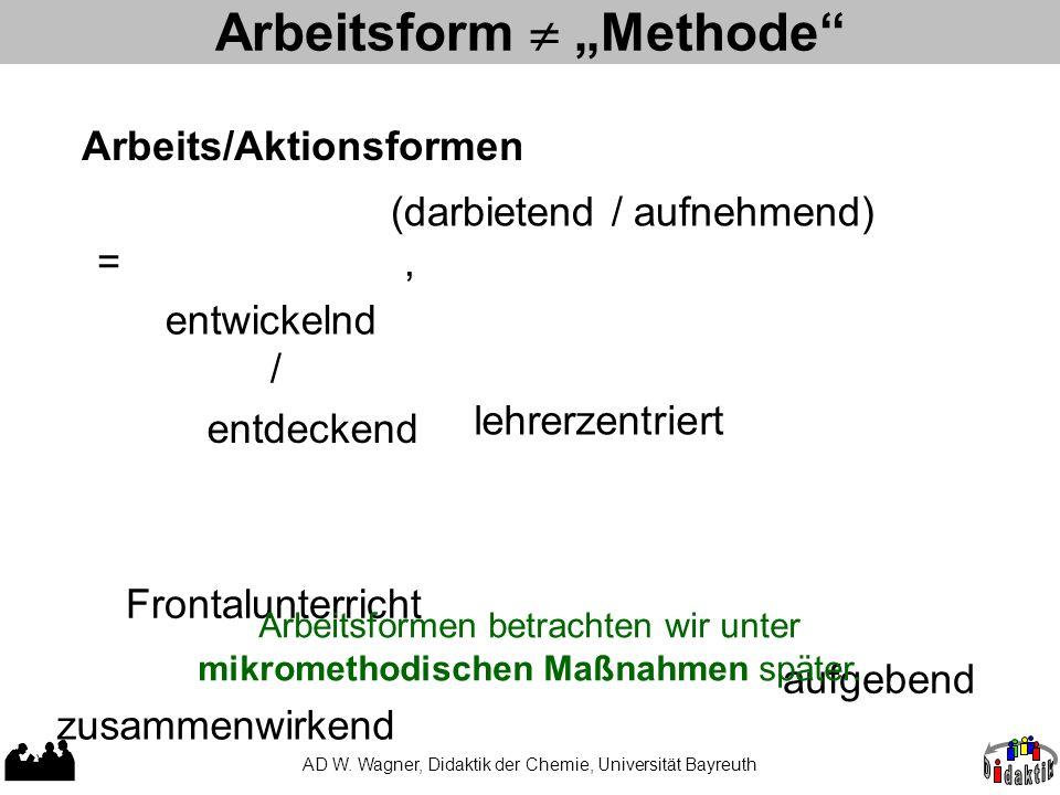 """AD W. Wagner, Didaktik der Chemie, Universität Bayreuth Arbeitsform  """"Methode"""" entwickelnd lehrerzentriert Frontalunterricht zusammenwirkend aufgeben"""