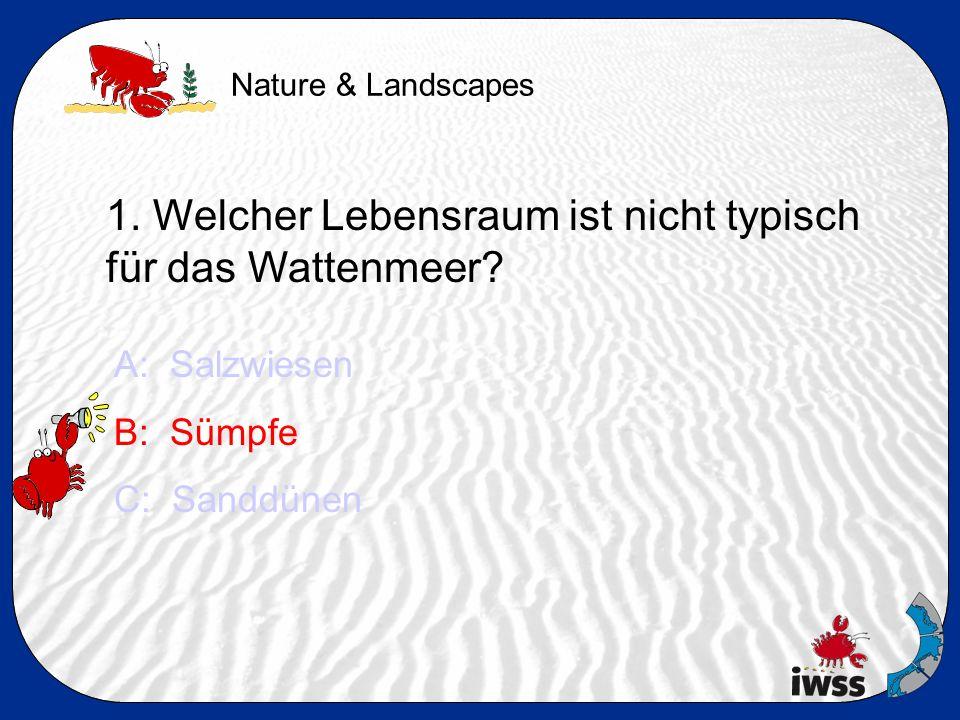 Nature & Landscapes 1. Welcher Lebensraum ist nicht typisch für das Wattenmeer.