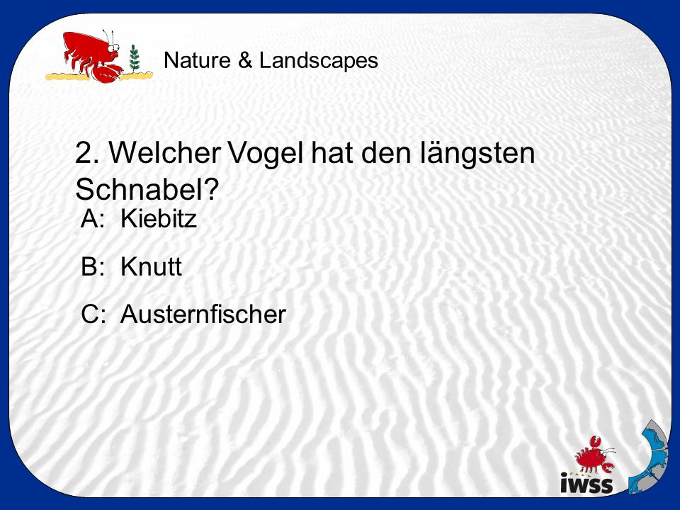 Nature & Landscapes 2. Welcher Vogel hat den längsten Schnabel.
