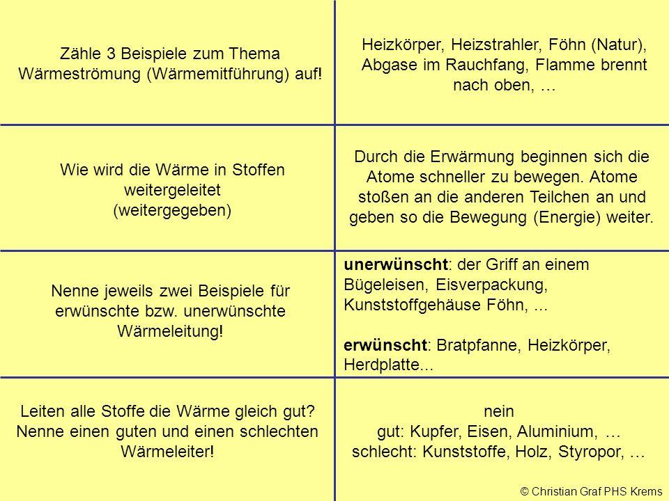 © Christian Graf PHS Krems Zähle 3 Beispiele zum Thema Wärmeströmung (Wärmemitführung) auf! Heizkörper, Heizstrahler, Föhn (Natur), Abgase im Rauchfan