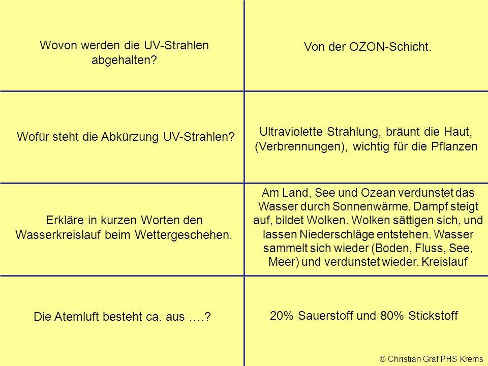 © Christian Graf PHS Krems Wovon werden die UV-Strahlen abgehalten? Von der OZON-Schicht. Wofür steht die Abkürzung UV-Strahlen? Ultraviolette Strahlu