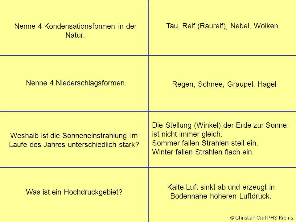© Christian Graf PHS Krems Nenne 4 Kondensationsformen in der Natur.