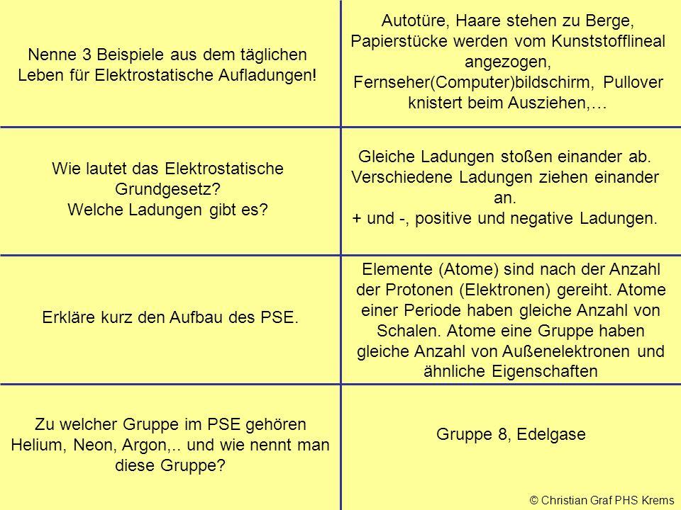 © Christian Graf PHS Krems Erkläre kurz den Aufbau des PSE. Gruppe 8, Edelgase Zu welcher Gruppe im PSE gehören Helium, Neon, Argon,.. und wie nennt m