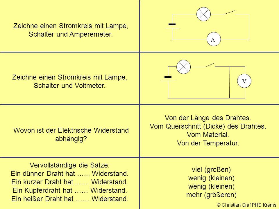 © Christian Graf PHS Krems Zeichne einen Stromkreis mit Lampe, Schalter und Amperemeter. Zeichne einen Stromkreis mit Lampe, Schalter und Voltmeter. W