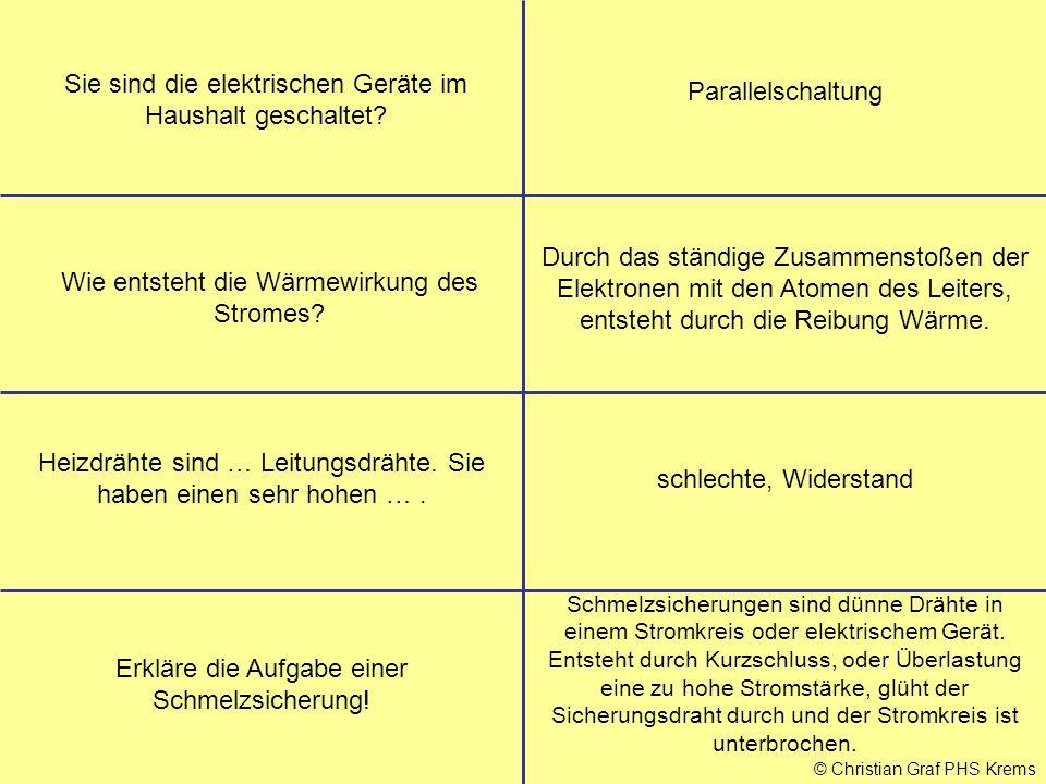 © Christian Graf PHS Krems Sie sind die elektrischen Geräte im Haushalt geschaltet.