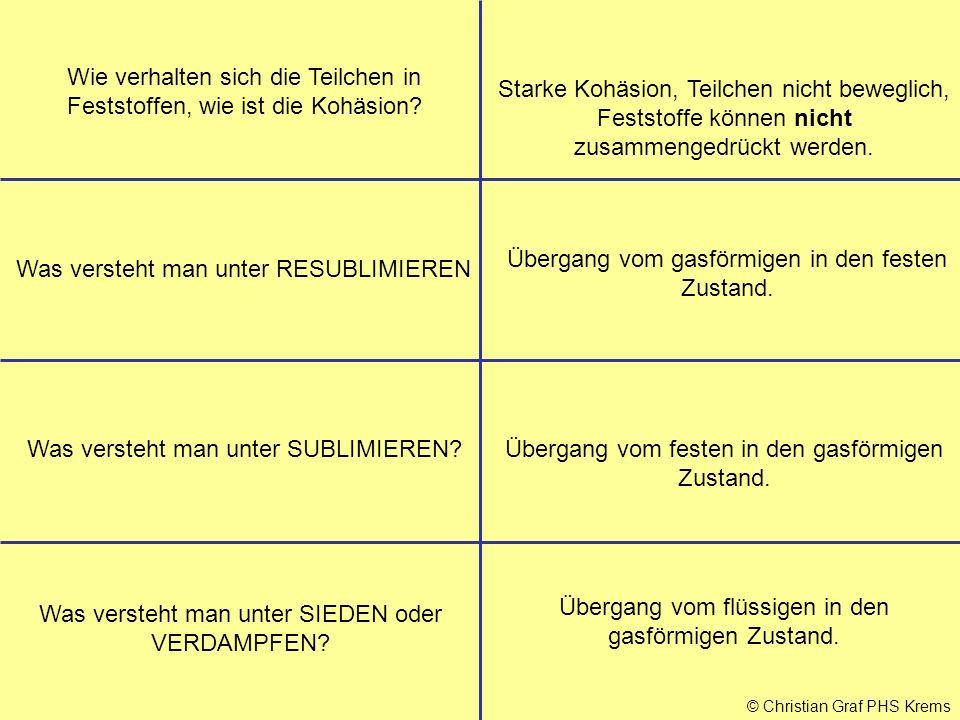 © Christian Graf PHS Krems Wie entsteht der Widerstand in einem Stromleiter.