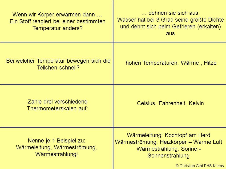 © Christian Graf PHS Krems Wenn wir Körper erwärmen dann … Ein Stoff reagiert bei einer bestimmten Temperatur anders? … dehnen sie sich aus. Wasser ha
