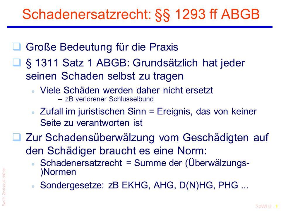 SoWi Ü - 1 Barta: Zivilrecht online Schadenersatzrecht: §§ 1293 ff ABGB qGroße Bedeutung für die Praxis q§ 1311 Satz 1 ABGB: Grundsätzlich hat jeder s