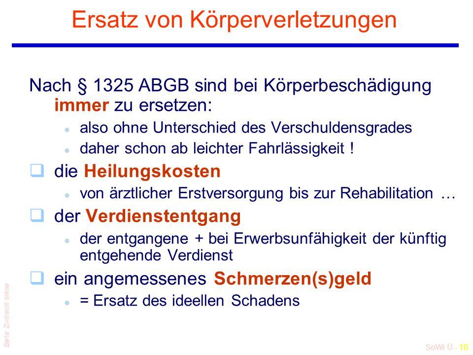 SoWi Ü - 10 Barta: Zivilrecht online Ersatz von Körperverletzungen Nach § 1325 ABGB sind bei Körperbeschädigung immer zu ersetzen: l also ohne Unterschied des Verschuldensgrades l daher schon ab leichter Fahrlässigkeit .