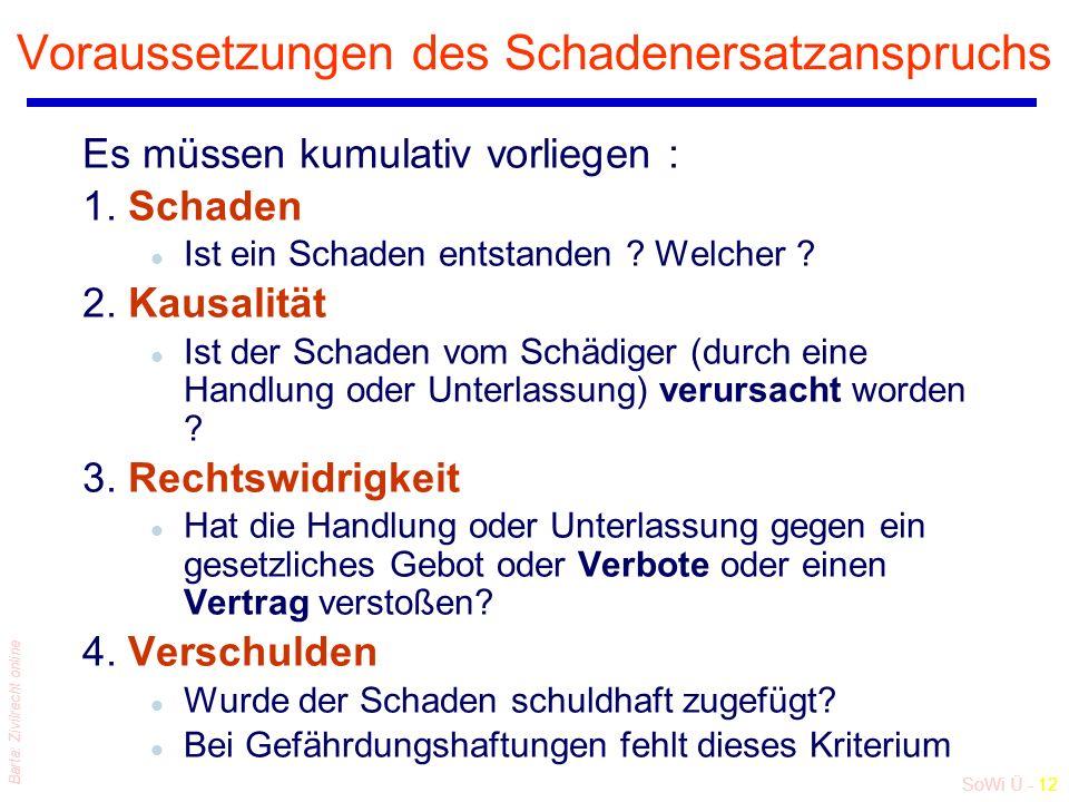 SoWi Ü - 12 Barta: Zivilrecht online Voraussetzungen des Schadenersatzanspruchs Es müssen kumulativ vorliegen : 1.