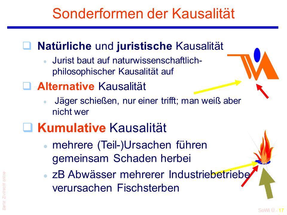 SoWi Ü - 17 Barta: Zivilrecht online Sonderformen der Kausalität qNatürliche und juristische Kausalität l Jurist baut auf naturwissenschaftlich- philo