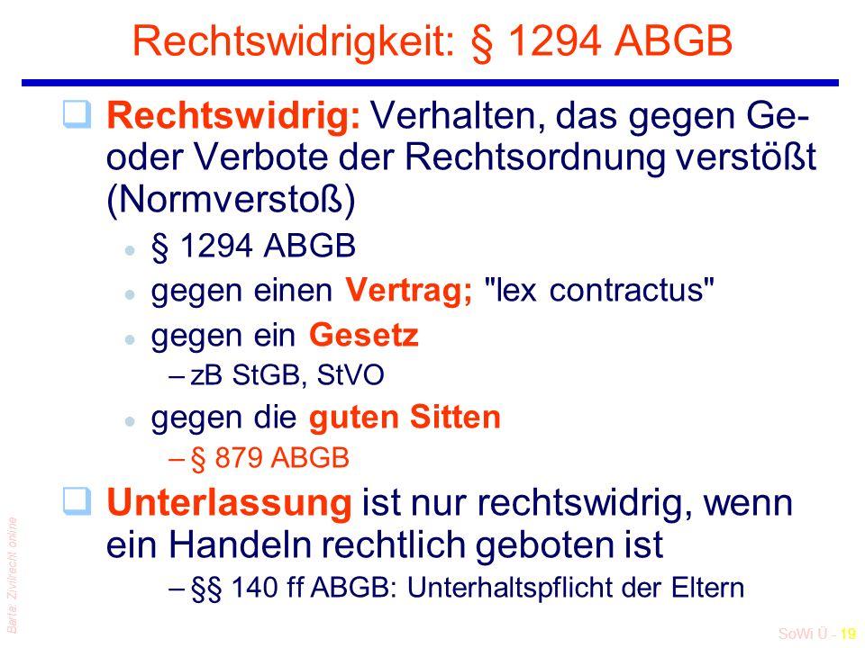 SoWi Ü - 19 Barta: Zivilrecht online Rechtswidrigkeit: § 1294 ABGB qRechtswidrig: Verhalten, das gegen Ge- oder Verbote der Rechtsordnung verstößt (No