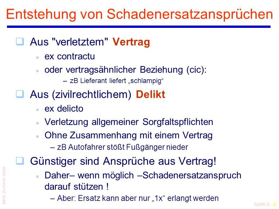 """SoWi Ü - 23 Barta: Zivilrecht online """"Wer hat im Prozeß """"was zu beweisen ? Normale Beweislast:"""