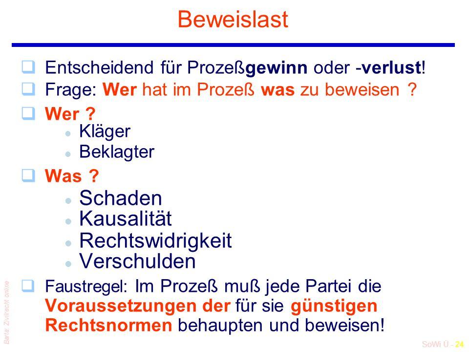 SoWi Ü - 24 Barta: Zivilrecht online Beweislast qEntscheidend für Prozeßgewinn oder -verlust! qFrage: Wer hat im Prozeß was zu beweisen ? qWer ? l Klä
