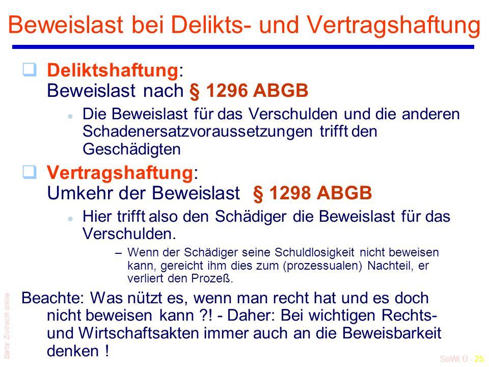 SoWi Ü - 25 Barta: Zivilrecht online Beweislast bei Delikts- und Vertragshaftung qDeliktshaftung: Beweislast nach § 1296 ABGB l Die Beweislast für das Verschulden und die anderen Schadenersatzvoraussetzungen trifft den Geschädigten qVertragshaftung: Umkehr der Beweislast § 1298 ABGB l Hier trifft also den Schädiger die Beweislast für das Verschulden.