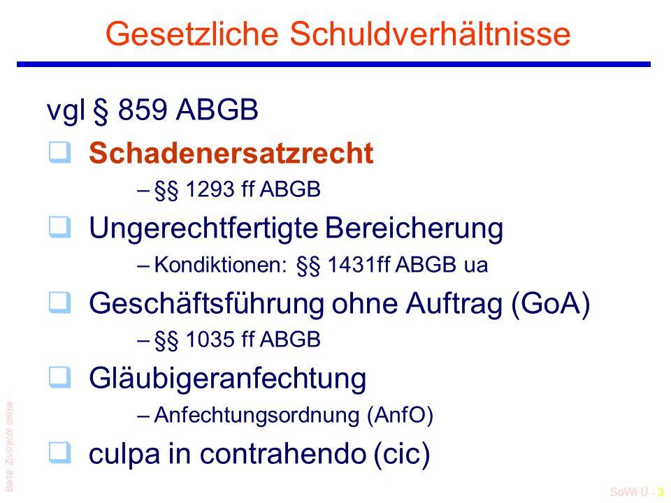 SoWi Ü - 3 Barta: Zivilrecht online Gesetzliche Schuldverhältnisse vgl § 859 ABGB qSchadenersatzrecht –§§ 1293 ff ABGB qUngerechtfertigte Bereicherung