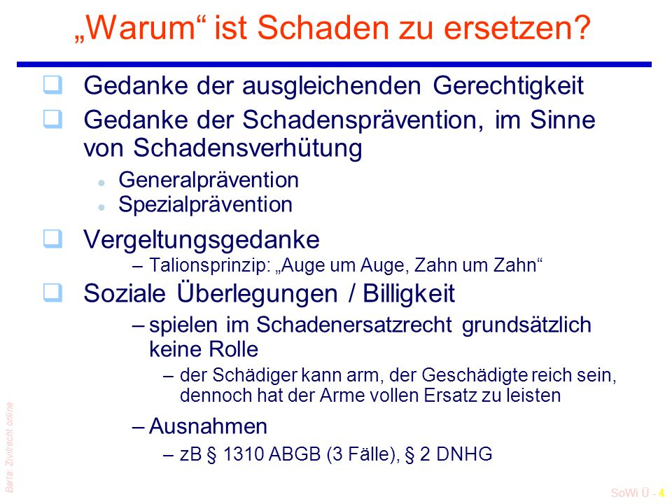 """SoWi Ü - 4 Barta: Zivilrecht online """"Warum ist Schaden zu ersetzen."""