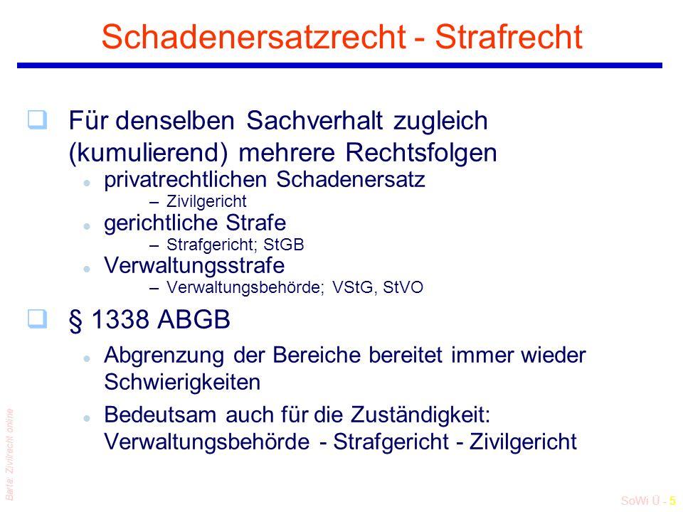 SoWi Ü - 5 Barta: Zivilrecht online Schadenersatzrecht - Strafrecht qFür denselben Sachverhalt zugleich (kumulierend) mehrere Rechtsfolgen l privatrec