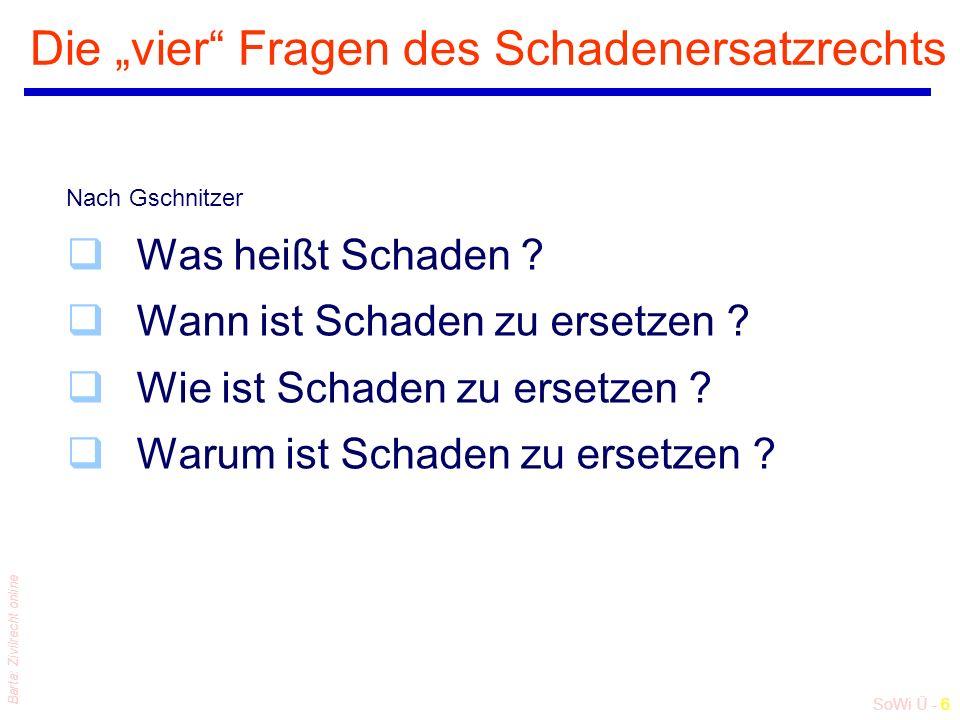 """SoWi Ü - 6 Barta: Zivilrecht online Die """"vier"""" Fragen des Schadenersatzrechts Nach Gschnitzer qWas heißt Schaden ? qWann ist Schaden zu ersetzen ? qWi"""